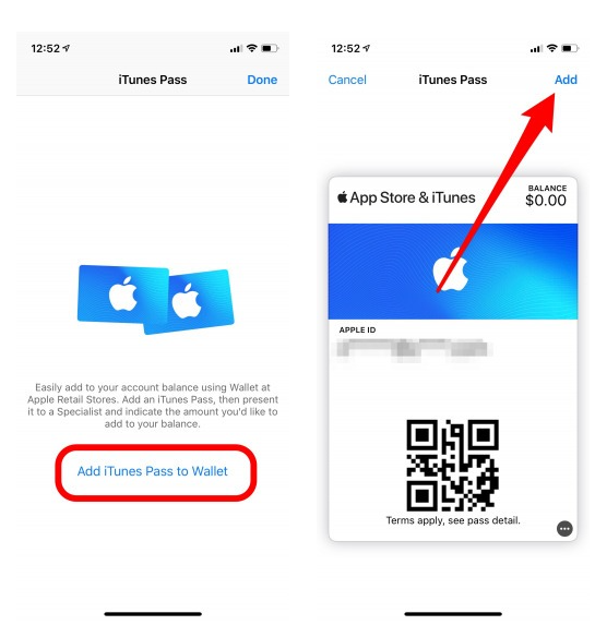 Ajouter iTunes Pass to Wallet